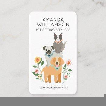 adorable floral dog & cat pet care services white business card