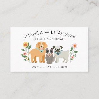 adorable floral dog & cat pet care services white business card