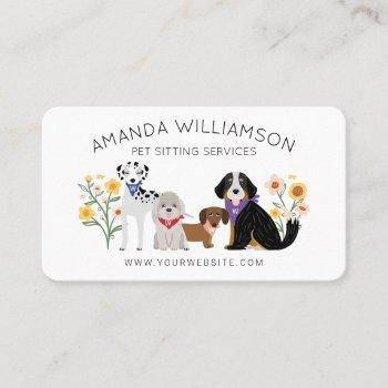adorable floral dogs breed pet care services white business card