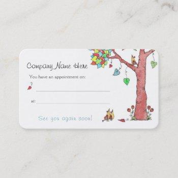adorable heart tree and birds appointment reminder business card