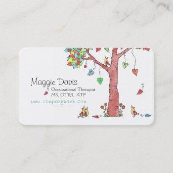adorable heart tree with birds business card