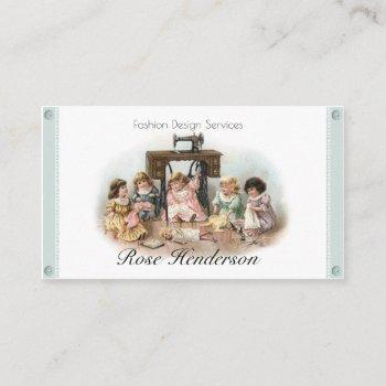 adorable vintage victorian sewing seamtress business card