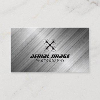 aerial video & photography drone service metal business card