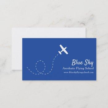 aerobatic white blue modern aviation business card
