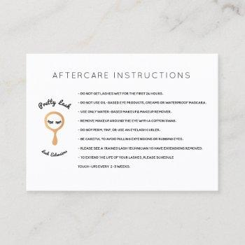 aftercare for lash extensions salon business card