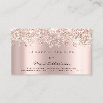 aftercare instruction lash rose gold glitter spark business card
