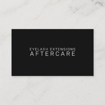 aftercare instructions card for lash extensions