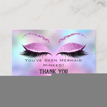 aftercare instructions eyelash pink holograph business card