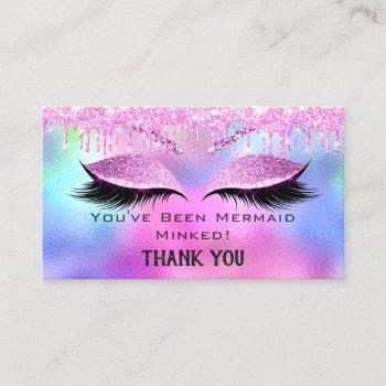 aftercare instructions eyelash pink holograph drip business card