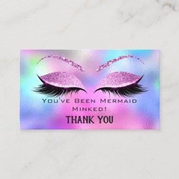 aftercare instructions eyelash pink holographic business card