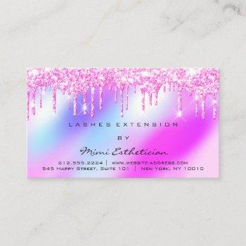 aftercare instructions lash pink drips holograph business card