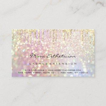 aftercare instructions lash rose gold drip glitter business card