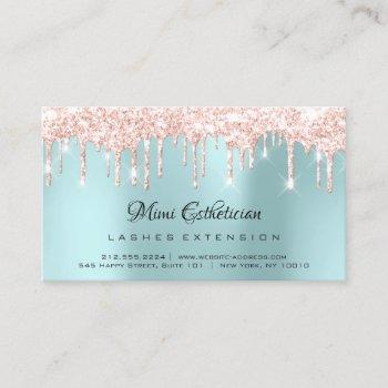 aftercare instructions lash rose gold drips blue business card