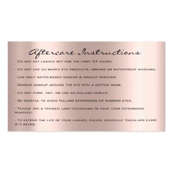 Small Aftercare Instructions Lash Rose Gold Drips Gray Business Card Back View