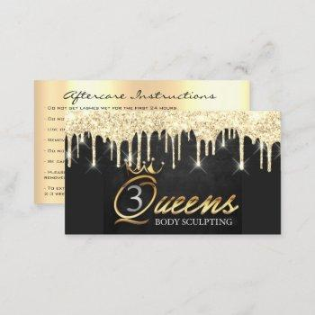 aftercare instructions lash soft gold drips logo business card