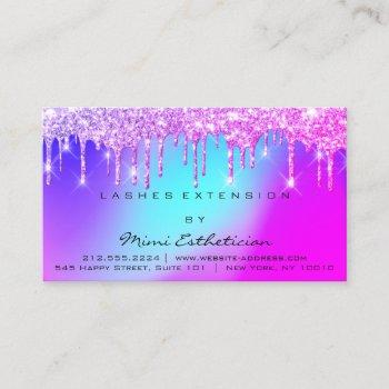 aftercare instructions lashes pink drips holograph business card