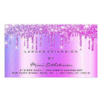 Small Aftercare Instructions Lashes Pink Drips Spark Business Card Front View