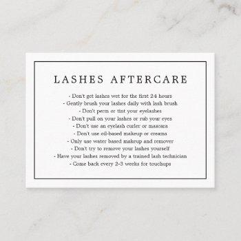 aftercare lashes minimalist black and white border business card