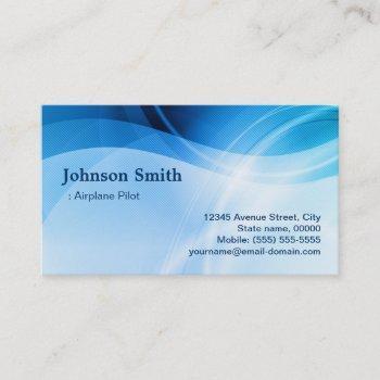 airplane pilot - modern blue creative business card