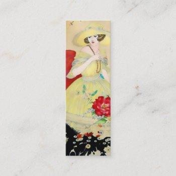 alcina, french art deco lady: whimsical summer mini business card
