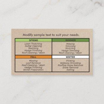 all season lawn care and tree service  landscaping business card