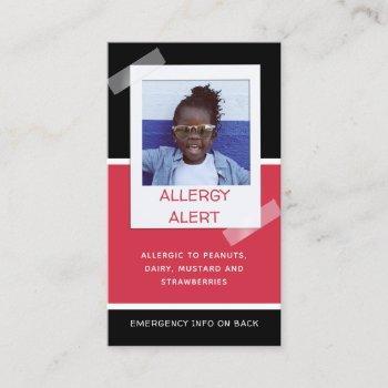 allergy alert kids photo medical emergency daycare calling card