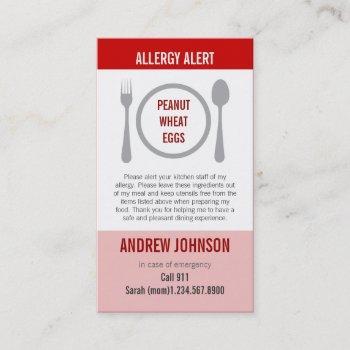 allergy alert red duotones calling card