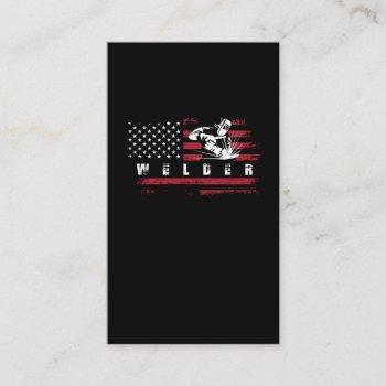 american flag welder usa metalworking weld business card