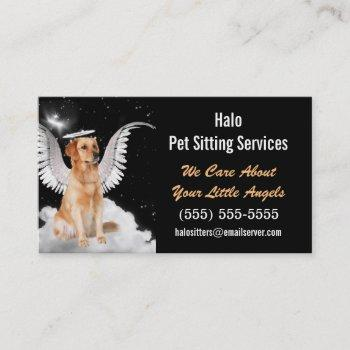 angel cat and dog pet sitting services business card