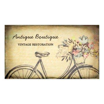 Small Antique Shop Vintage Restoration Floral Bicycle Business Card Front View