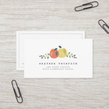 apple floral white simple teacher business card