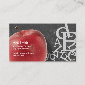apple & random alphabets chalkboard school teacher business card
