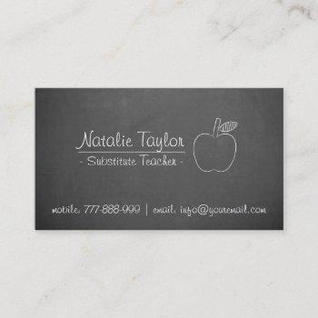apple substitute teacher tutor grey chalkboard business card