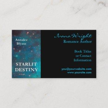 aqua and black book cover author business card