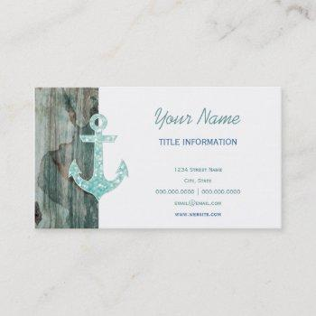 aqua bokeh nautical glitter anchor on wood business card