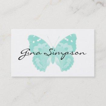 aqua butterfly personalized business cards