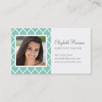 aqua chic moroccan lattice photo business card