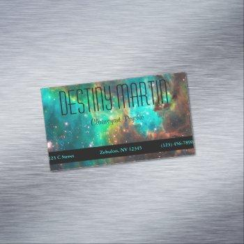 aqua green celestial photo metaphysical business card magnet