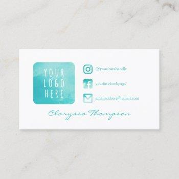 aqua watercolor logo & photo social media business card
