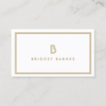 art deco monogram initial logo in gold and white business card