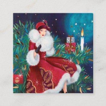 art deco retro vintage christmas lady square business card
