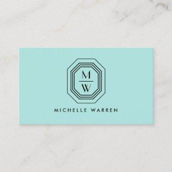 art deco stacked monogram logo on aqua blue business card