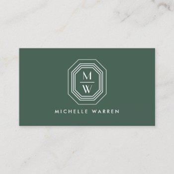 art deco stacked monogram logo on forest green business card