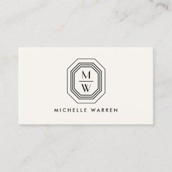 art deco stacked monogram logo  on ivory business card