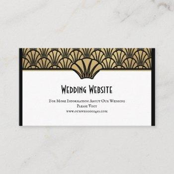 art deco wedding website information black gold business card