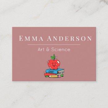 art & science teacher tutor substitute funny apple business card