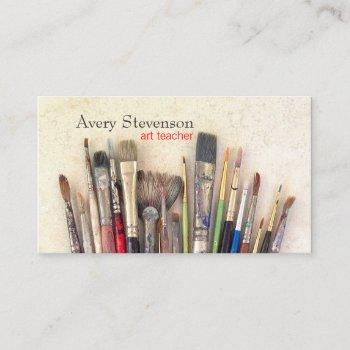 artist paint brushes painter art instruction business card