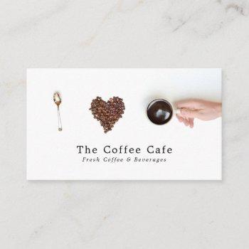 artistic coffee display, coffee house business card
