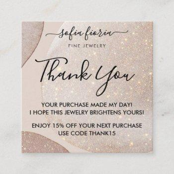 artistic gold glitter thank you for your order square business card