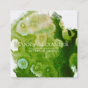 artistic green abstract watercolor art square business card